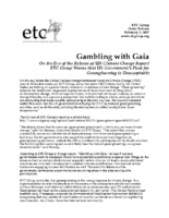 116Y_2007_ETC_Group_February_1_2007_U.S._Push_for_Geoengineering_is_Gambling_with_Gaia