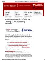 Preliminary results of USC-LA County COVID-19 study released – Press Room USC