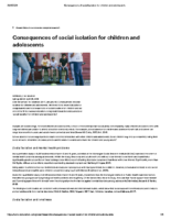 Consequences of social isolation for children and adolescents