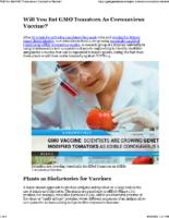 Will You Eat GMO Tomatoes As Coronavirus Vaccine_